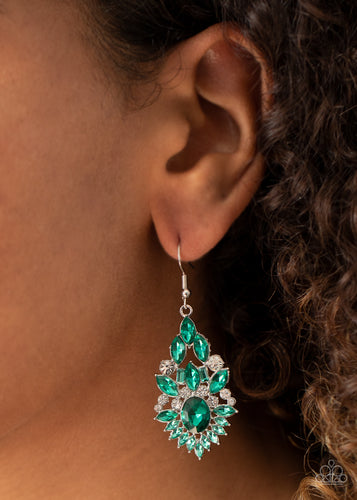 Ice Castle Couture - green - Paparazzi earrings