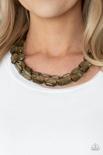 Ice Bank-brass-Paparazzi necklace