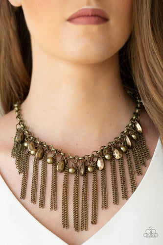 Industrial Intensity - brass - Paparazzi necklace