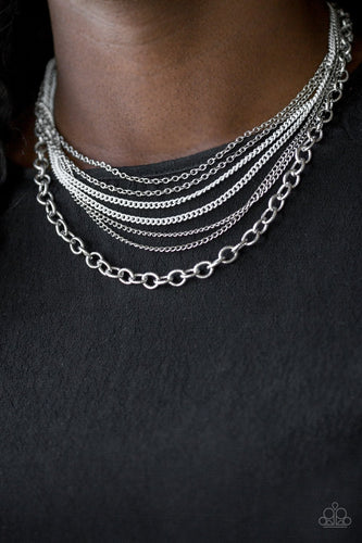 Intensely Industrial - white - Paparazzi necklace