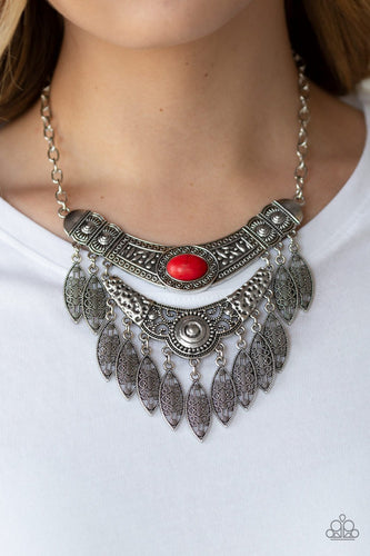 Island Queen-red-Paparazzi necklace
