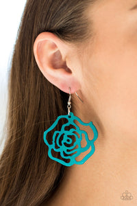 Island Rose-blue-Paparazzi earrings