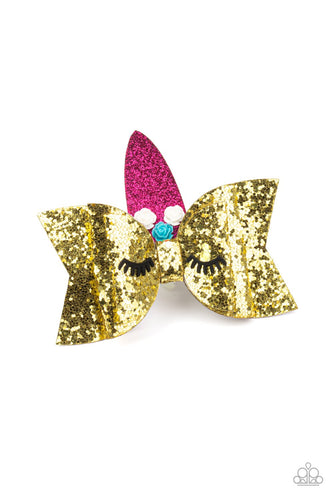 Just Be A YOU-nicorn-gold-Paparazzi hair clip