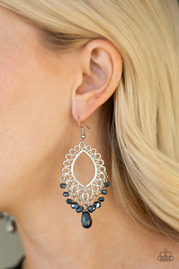 Just Say Noir-blue-Paparazzi earrings