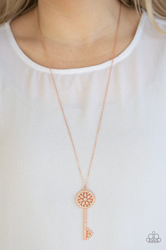Keeping Secrets-copper-Paparazzi necklace