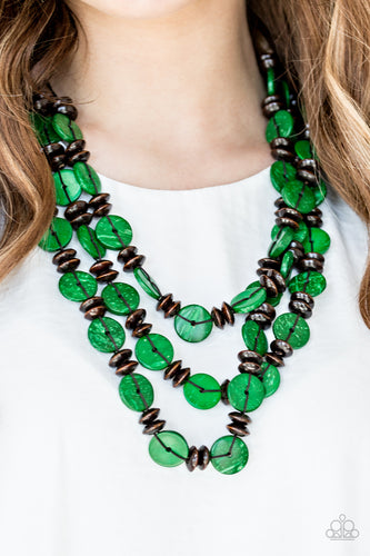 Key West Walkabout - green - Paparazzi necklace
