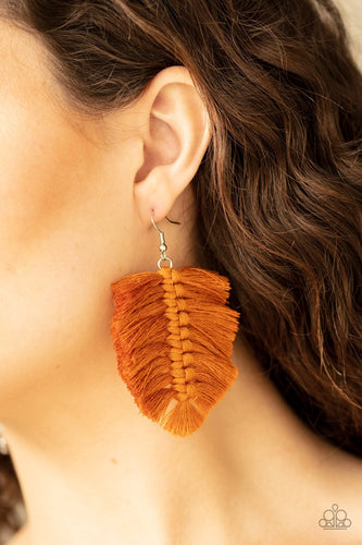 Knotted Native-brown-Paparazzi earrings
