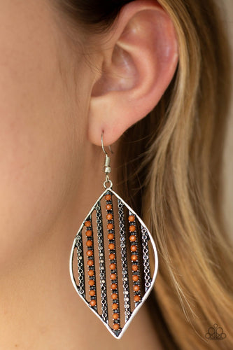 Leaf Motif-brown-Paparazzi earrings