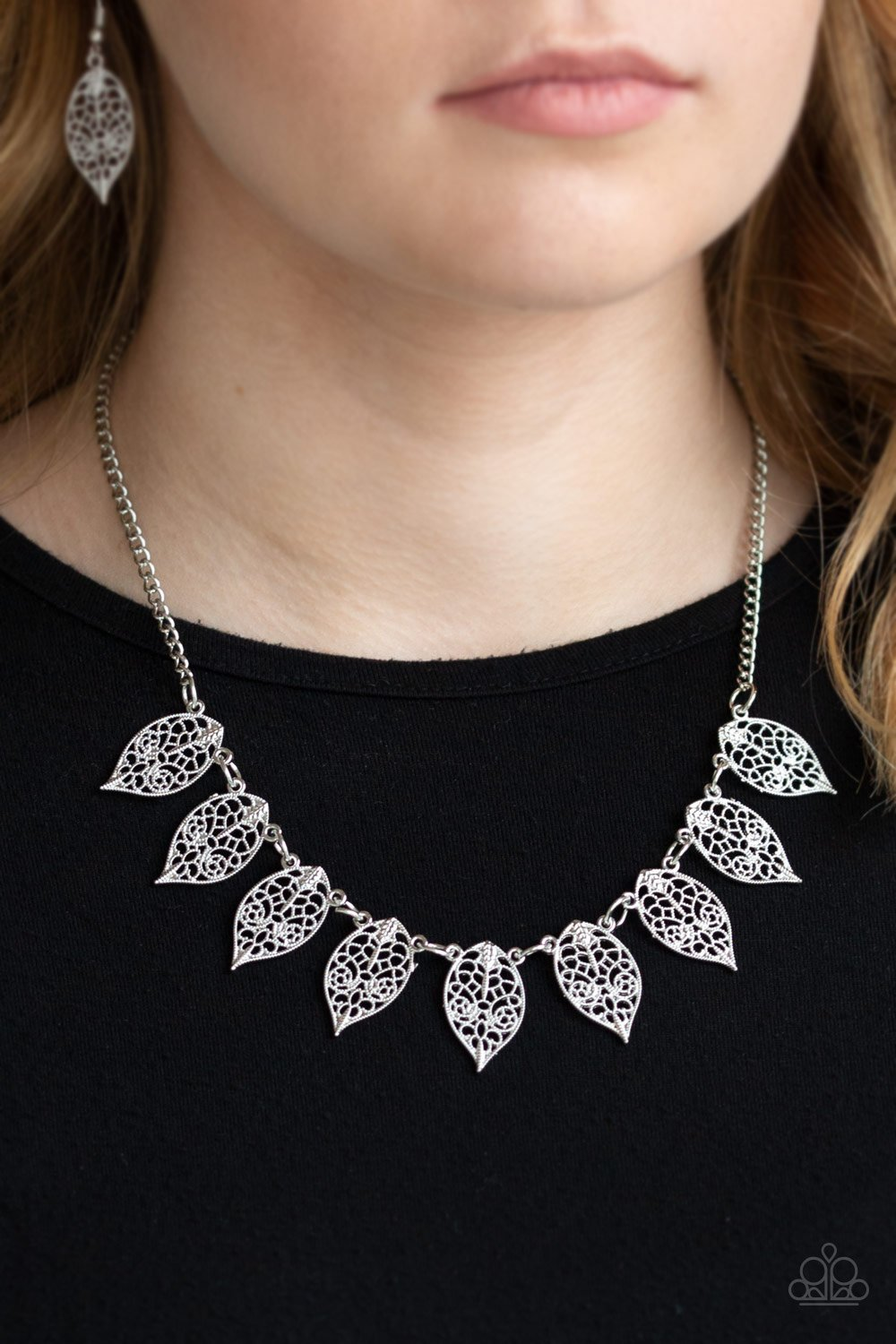 Leafy Lagoon-silver-Paparazzi necklace