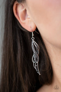 Let Down Your Wings-silver-Paparazzi earrings