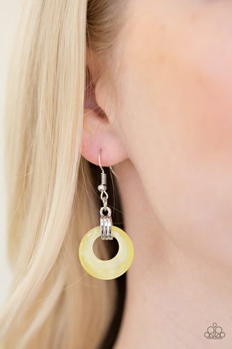 Look High and GLOW - yellow - Paparazzi earrings
