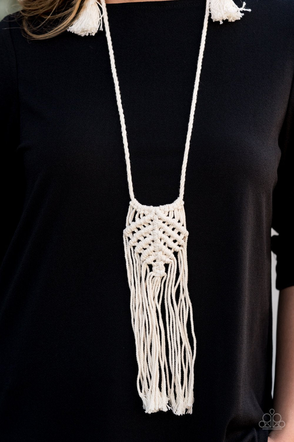 Macrame Mantra-white-Paparazzi necklace