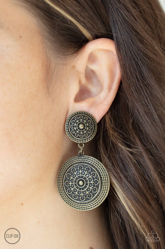 Magnificent Medallions - brass - Paparazzi CLIP ON earrings