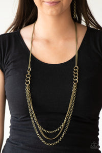Mechanical Mayhem - brass - Paparazzi necklace