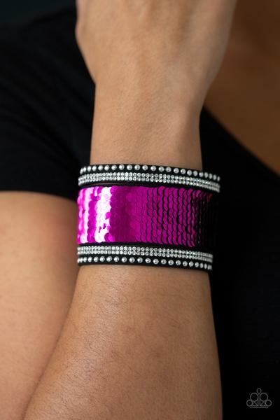 Mermaids Have More Fun - pink (and black) - Paparazzi bracelet
