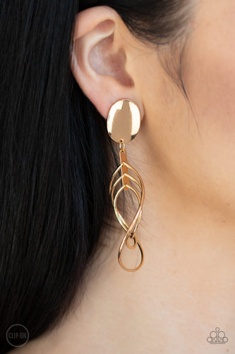 Metallic Foliage - gold - Paparazzi clip on earrings