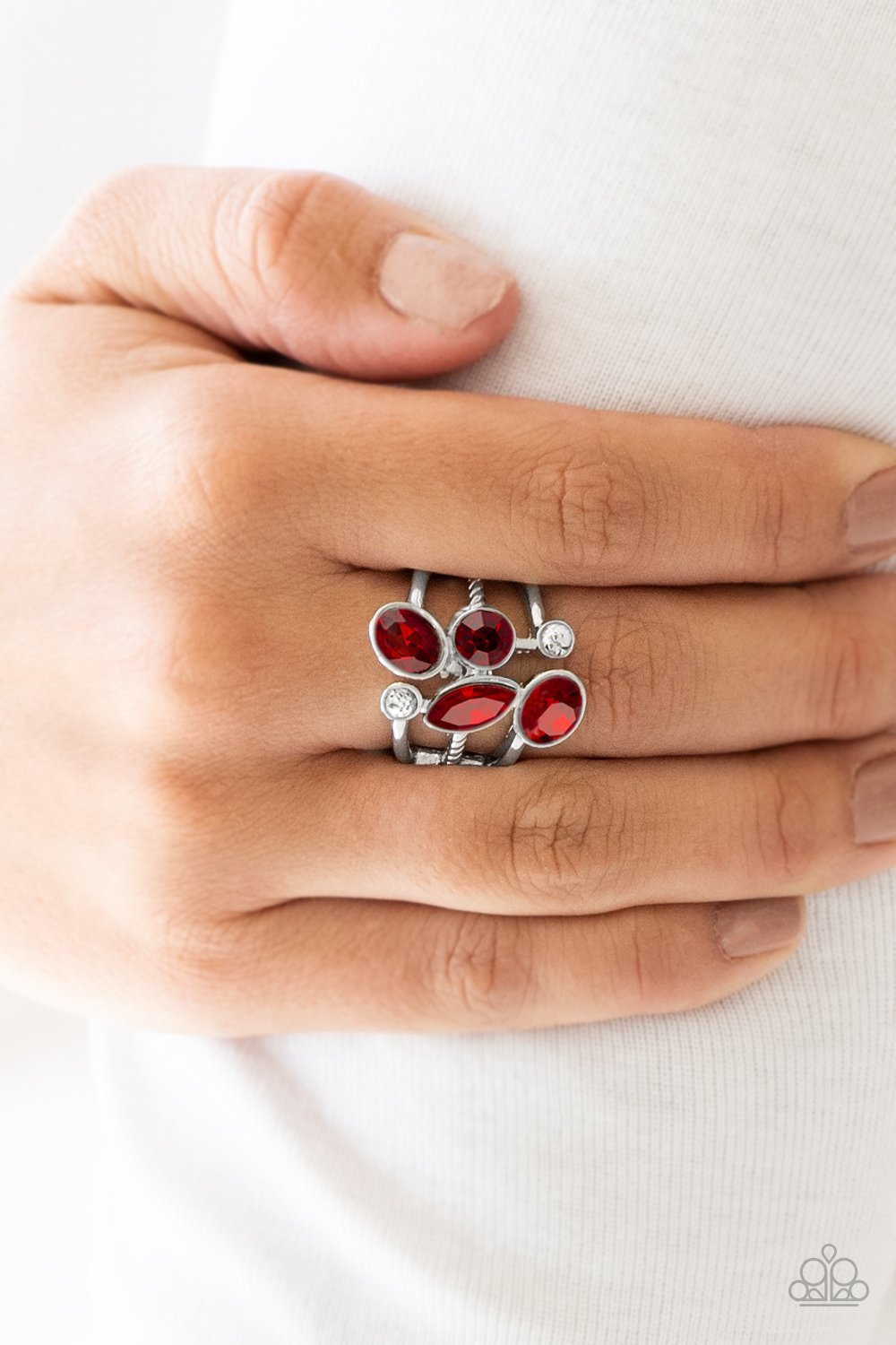 Metro Mingle - red - Paparazzi ring