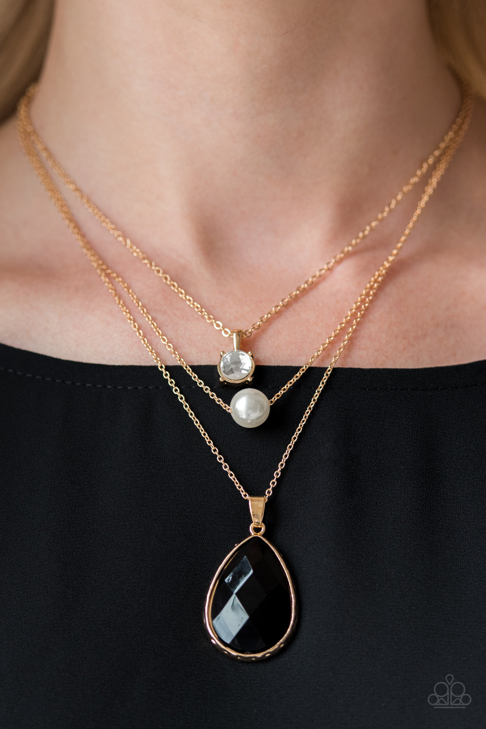 Midnight Martinis - gold - Paparazzi necklace
