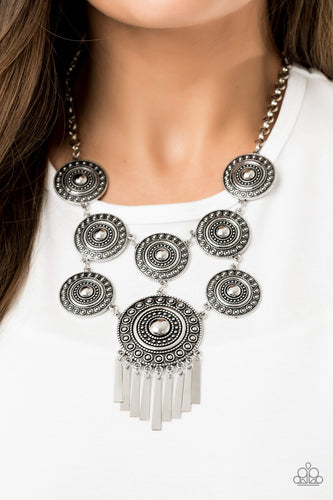 Modern Medalist-silver-Paparazzi necklace