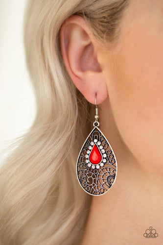 Modern Monte Carlo-red-Paparazzi earrings