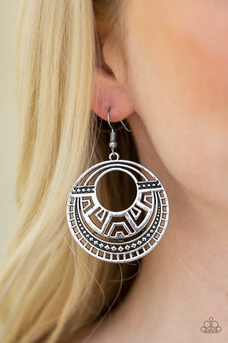 Modernly Mayan - silver - Paparazzi earrings