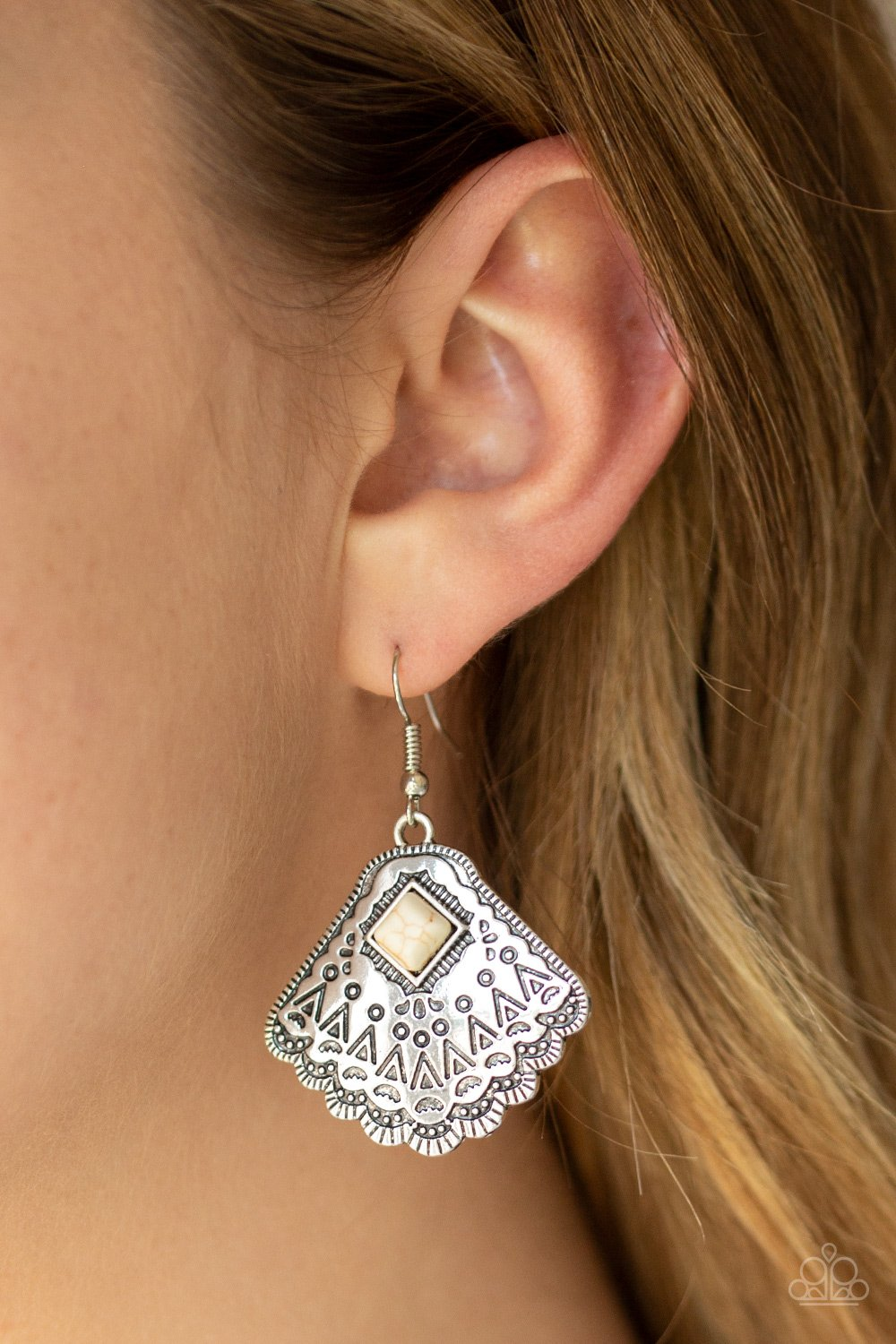 Mountain Mesa-white-Paparazzi earrings