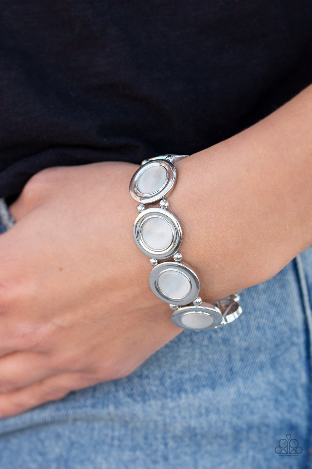 Muster Up the Luster-white-Paparazzi bracelet