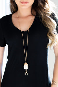 Nightcap and Gown-gold-Paparazzi LANYARD necklace