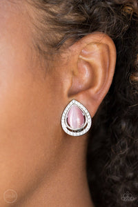 Noteworthy Shimmer-pink-CLIP ONS-Paparazzi earrings