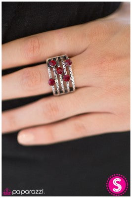 Offbeat - Red - Paparazzi ring