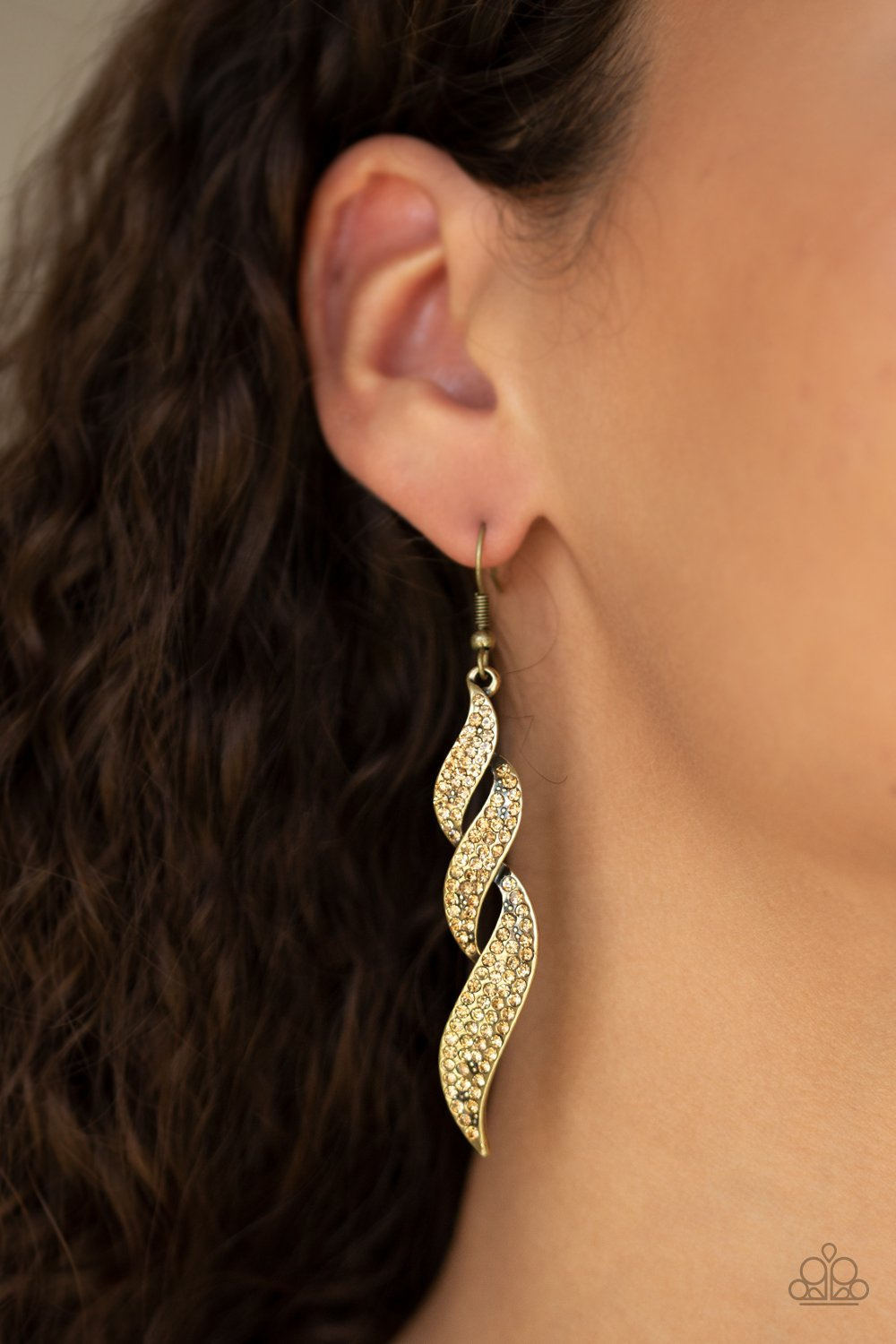 On Fire - brass - Paparazzi earrings
