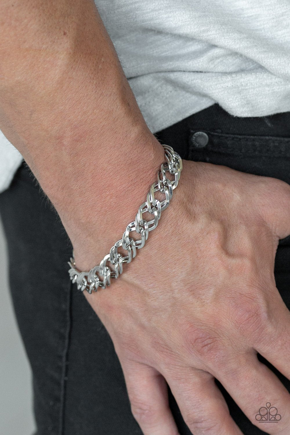 On the Ropes - silver - Paparazzi mens bracelet