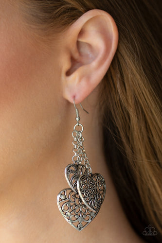 Once Upon a HEART - silver - Paparazzi earrings