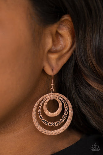 Out of Control Shimmer - copper - Paparazzi earrings