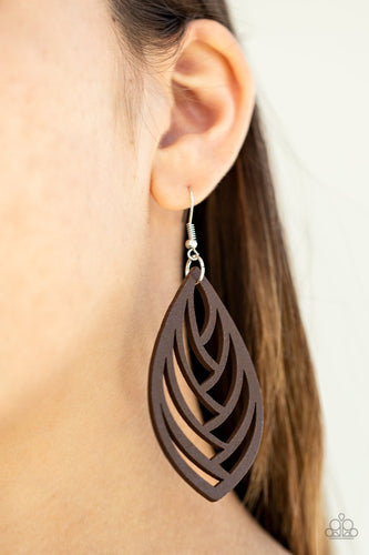 Out of the Woodwork-brown-Paparazzi earrings