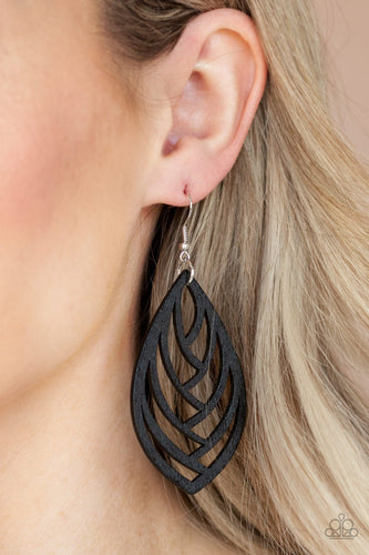 Out of the Woodwork-black-Paparazzi earrings