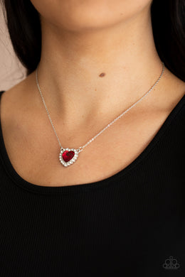 Out of the GLITTERY-ness of Your Heart - red - Paparazzi necklace