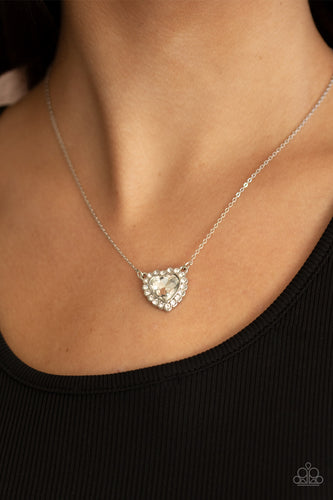 Out of the GLITTERY-ness of Your Heart - white - Paparazzi necklace