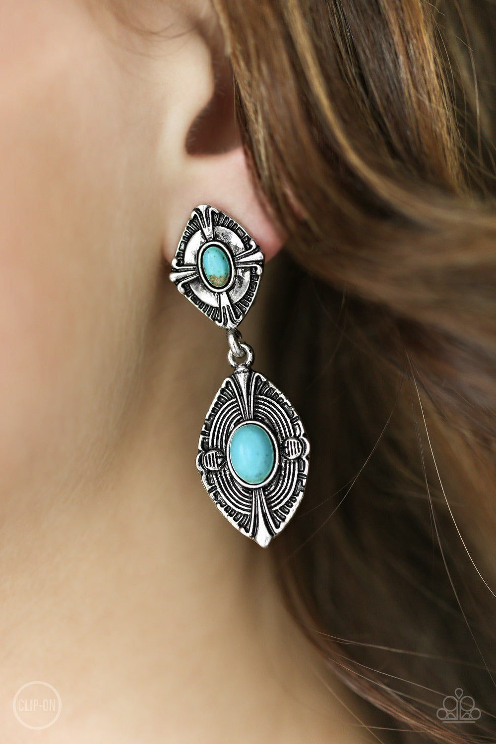 Painted Peaks - blue - Paparazzi CLIP ON earrings