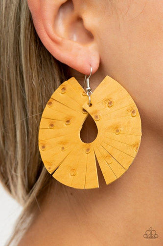 Palm Islands - yellow - Paparazzi earrings