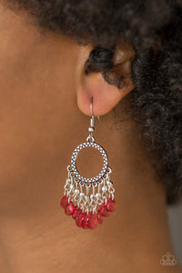 Paradise Palace - red - Paparazzi earrings