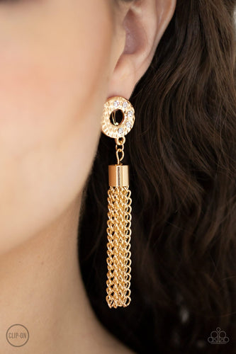 Perfectly Prestigious-gold-Paparazzi CLIP ON earrings