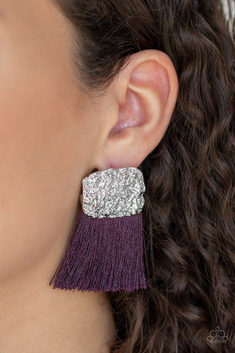 Plume Bloom-purple-Paparazzi earrings