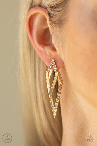 Point-BANK-gold-Paparazzi earrings
