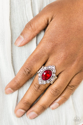 Power Behind the Throne - red - Paparazzi ring