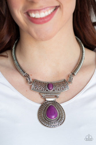 Prowling Prowess-purple-Paparazzi necklace