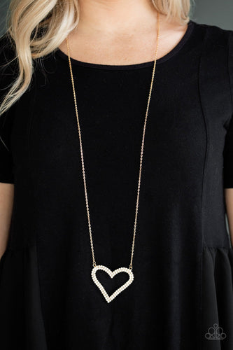 Pull Some HEART-strings - gold - Paparazzi necklace