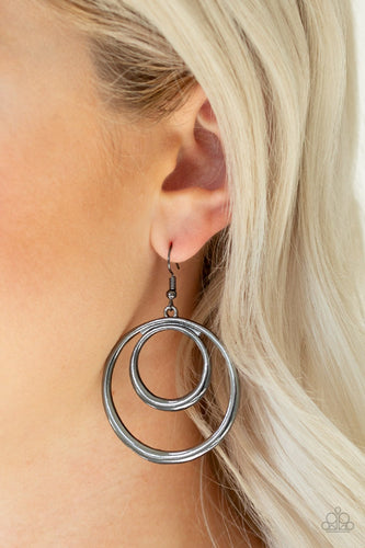 Put Your SOL Into It-black-Paparazzi earrings