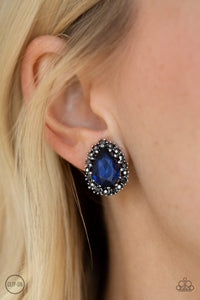 Quintessentially Queen-blue CLIP ONS-Paparazzi earrings