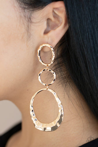 Radically Rippled-gold-Paparazzi earrings
